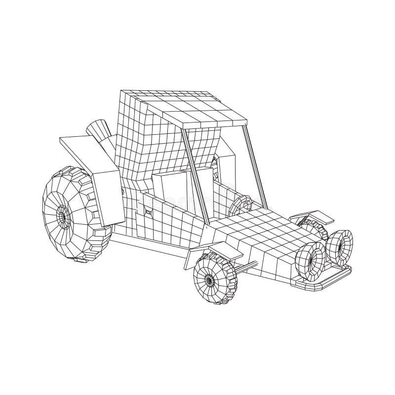 Del coche del coche de playa del camino stock de ilustración