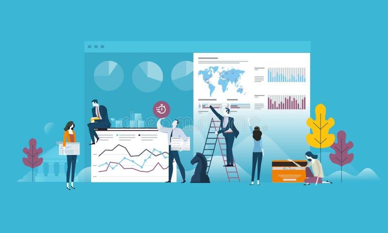 Del concepto del diseño hombres de negocios planos para la estrategia, planeamiento, estudio de mercados, finanzas, inversión stock de ilustración