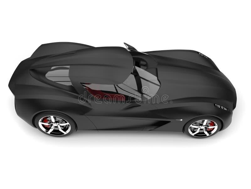 Del concepto estupendo moderno negro mate de los deportes del top vista lateral automotriz abajo ilustración del vector