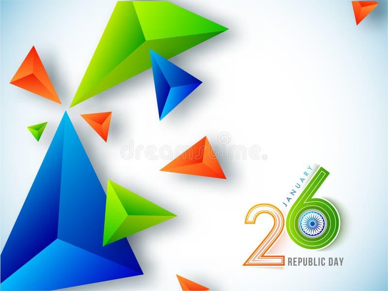 26 del concetto di celebrazione di gennaio con gli estratti geometrici 3d royalty illustrazione gratis