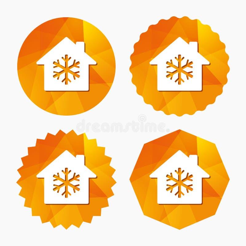 Del condizionamento d'aria icona all'interno Fiocco di neve astratto sul modello geometrico illustrazione di stock