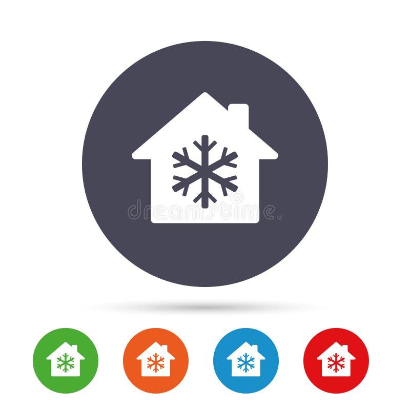 Del condizionamento d'aria icona all'interno Fiocco di neve astratto sul modello geometrico illustrazione vettoriale
