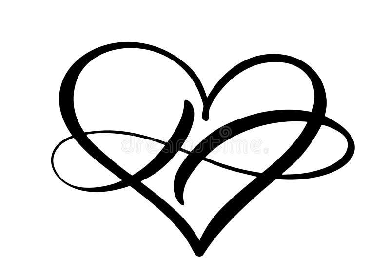 Del coraz?n del amor de la muestra logotipo para siempre El s?mbolo rom?ntico del infinito ligado, se une a, pasi?n y boda Planti ilustración del vector