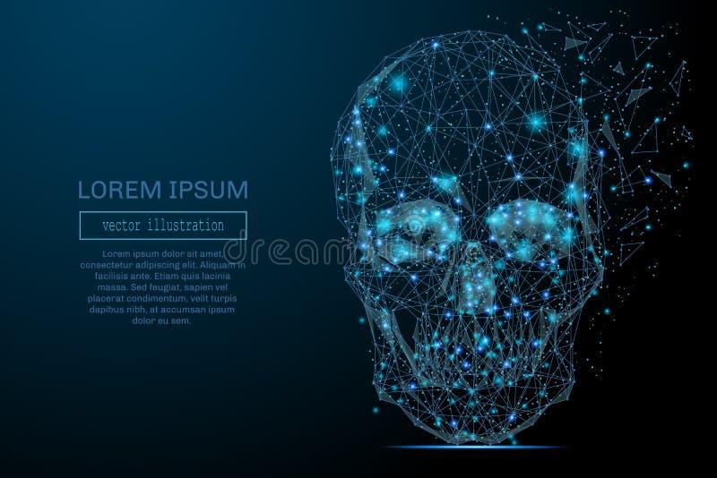 Del cráneo azul polivinílico bajo ilustración del vector