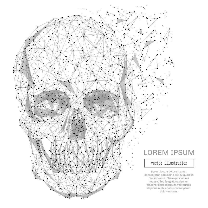 Del cráneo gris polivinílico bajo stock de ilustración