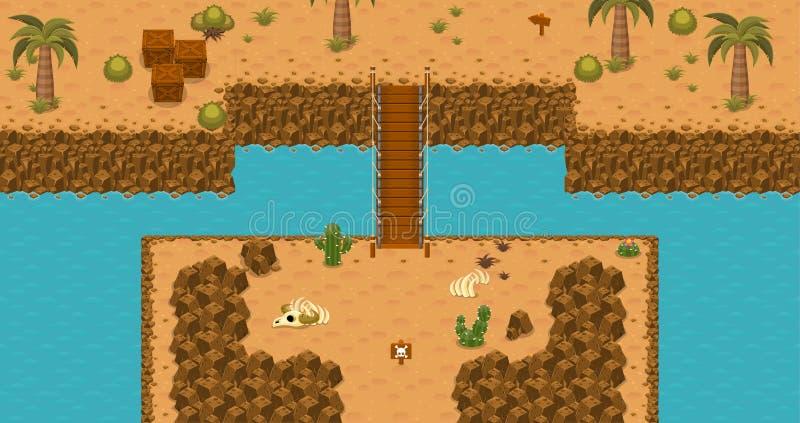 Del deserto della cima il gioco Tileset giù illustrazione vettoriale