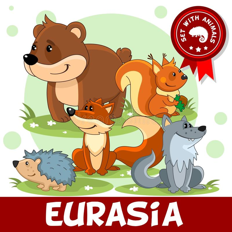 2 del Djur av Eurasia royaltyfri illustrationer