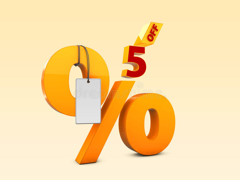 5 del ejemplo de la venta 3d de la oferta especial Símbolo del precio de oferta del descuento stock de ilustración