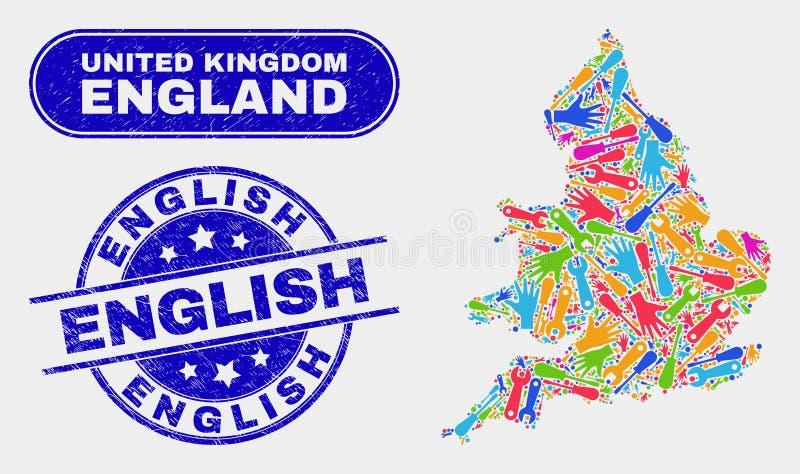 Del- England översikt och att bedröva engelska stämplar royaltyfri illustrationer