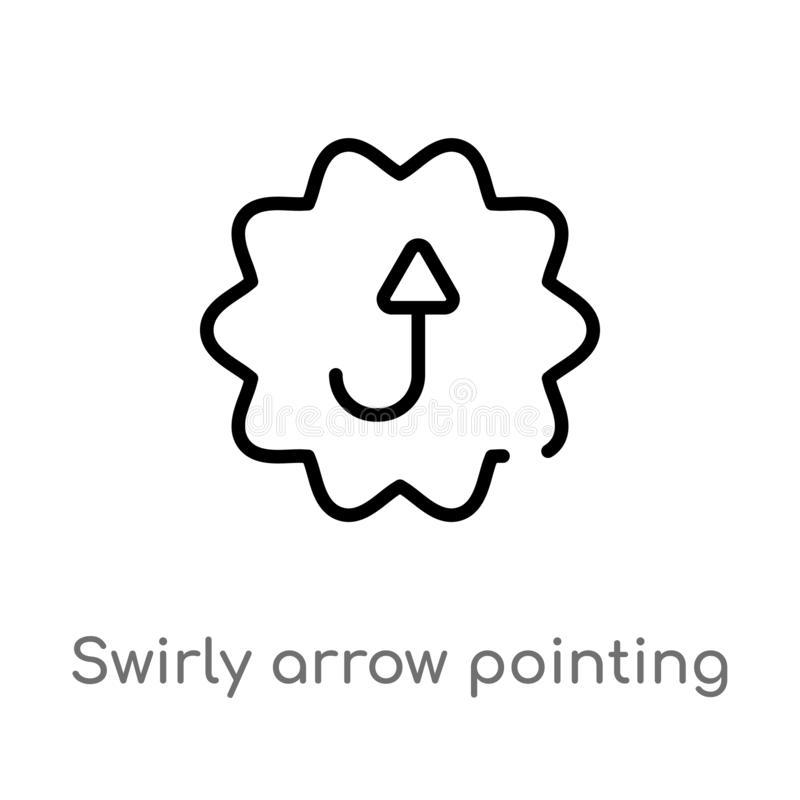 del esquema flecha swirly que señala el icono ascendente del vector línea simple negra aislada ejemplo del elemento del concepto  libre illustration