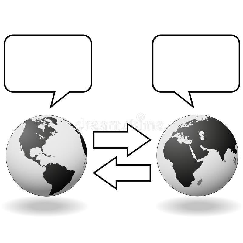 Del este resuelve la comunicación del oeste de la traducción ilustración del vector