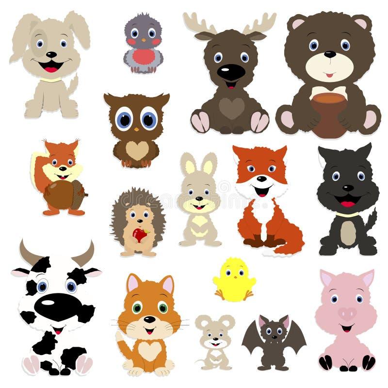 del för samling för 2 djur gullig stock illustrationer