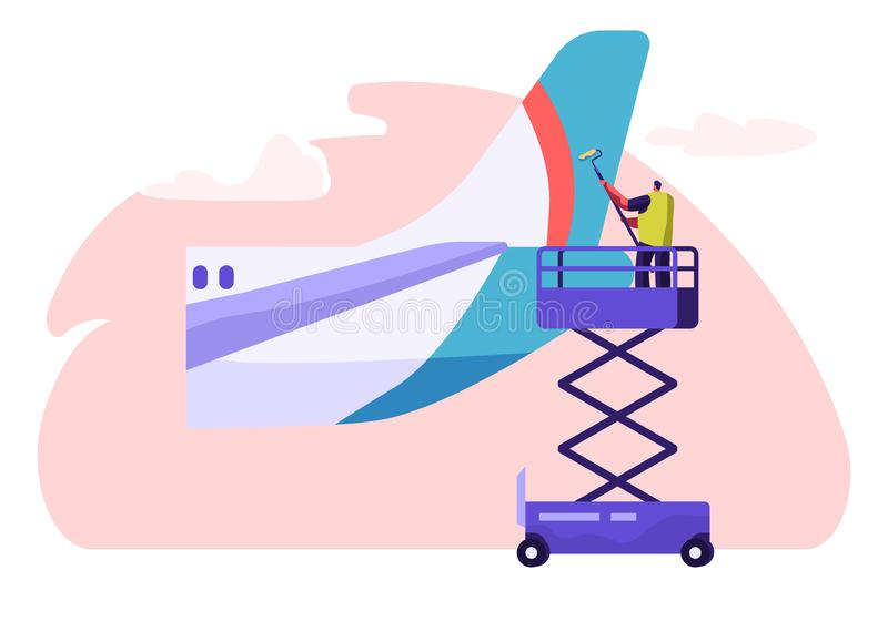 Del för svans för manpackning rengörande från nivån Tvättande flygplan för tecken med rullen och tvättmedel Ren service för flygp royaltyfri illustrationer