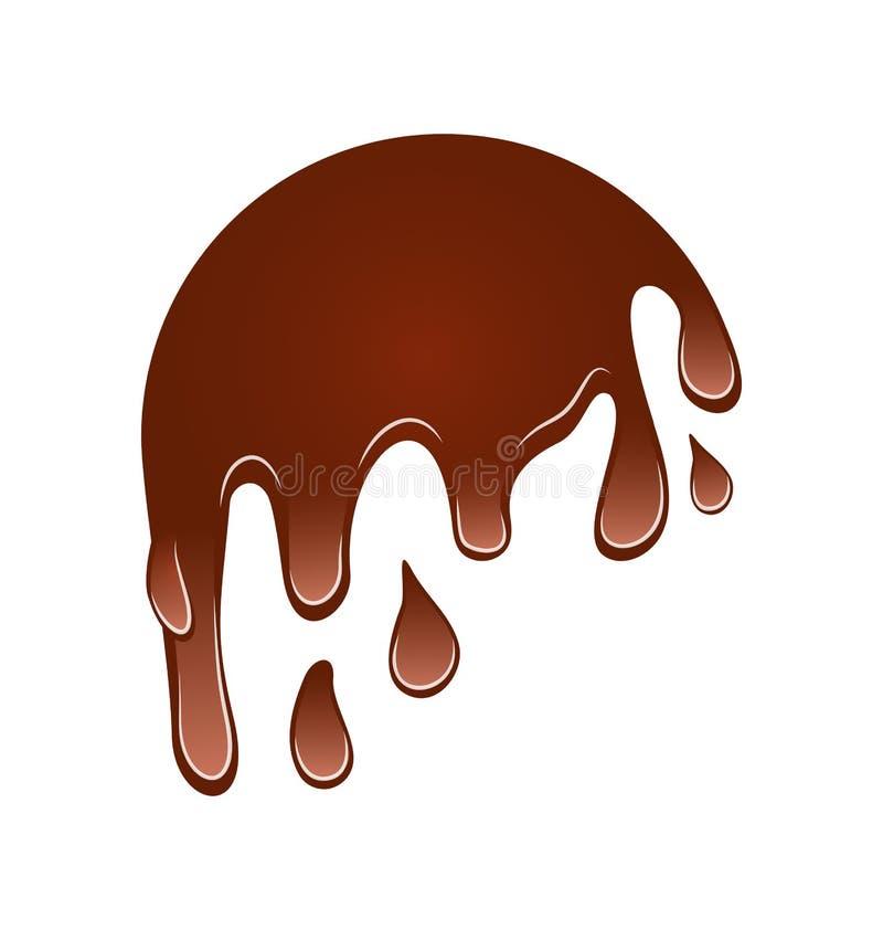 Del flujo mancha blanca /negra del chocolate abajo, aislada en el fondo blanco stock de ilustración