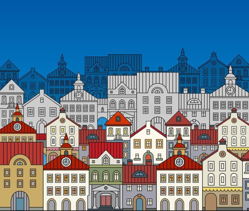 Del fumetto città giù royalty illustrazione gratis