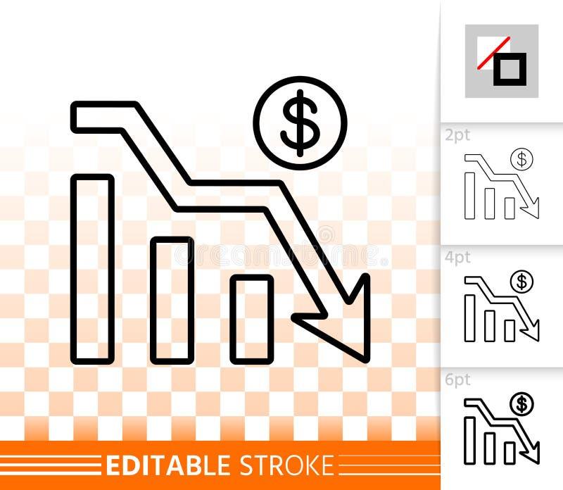 Del gráfico línea negra simple icono abajo del vector stock de ilustración