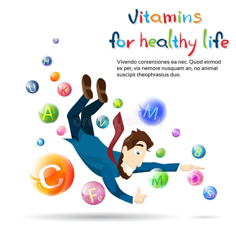 Del hombre de las vitaminas bandera sana de la vida de la salud Fot con el espacio de la copia libre illustration