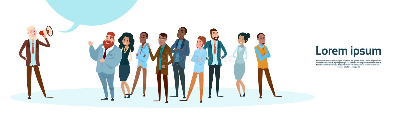 Del hombre de negocios de Boss Hold Megaphone Loudspeaker de los colegas de la mezcla de Team Group de la raza hombres de negocio libre illustration