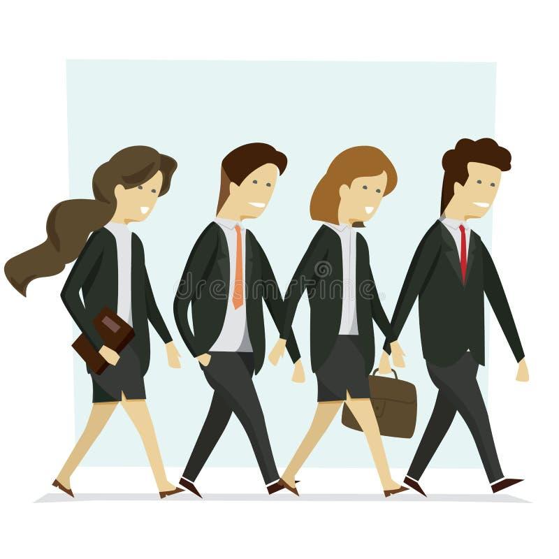 Del hombre y mujer del grupo los hombres de negocios se adaptan a caminar negro a trabajar ilustración del vector
