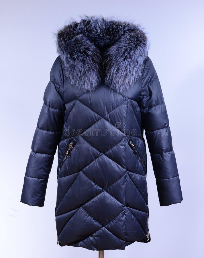 Del invierno chaqueta abajo aislada en fondo gris Abajo chaqueta gris oscuro en maniquí sin la cara outerwear fotografía de archivo libre de regalías