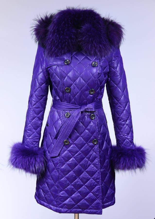 Del invierno chaqueta abajo aislada en fondo gris Abajo chaqueta púrpura en maniquí sin la cara Capa púrpura imagenes de archivo