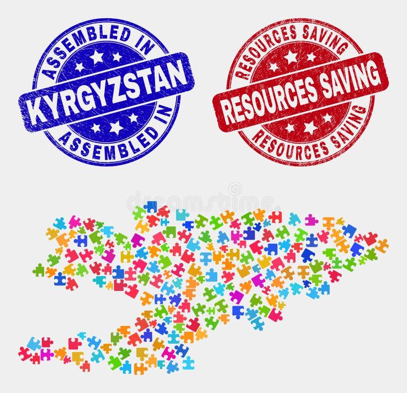 Del- Kirgizistanöversikt och att bedröva monterat och resurser som sparar stämpelskyddsremsor royaltyfri illustrationer
