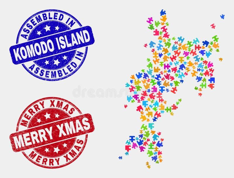 Del- Komodo ööversikt och församlade och glade Xmas-vattenstämplar för Grunge stock illustrationer