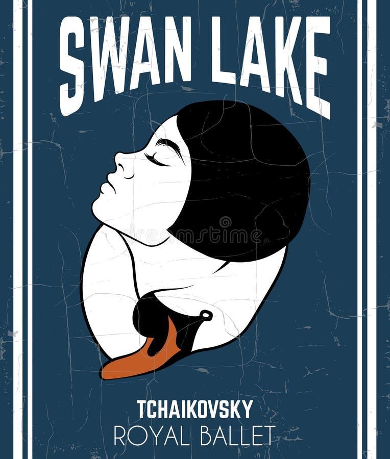 ` Del lago swan del ` del manifesto di vettore illustrazione di stock