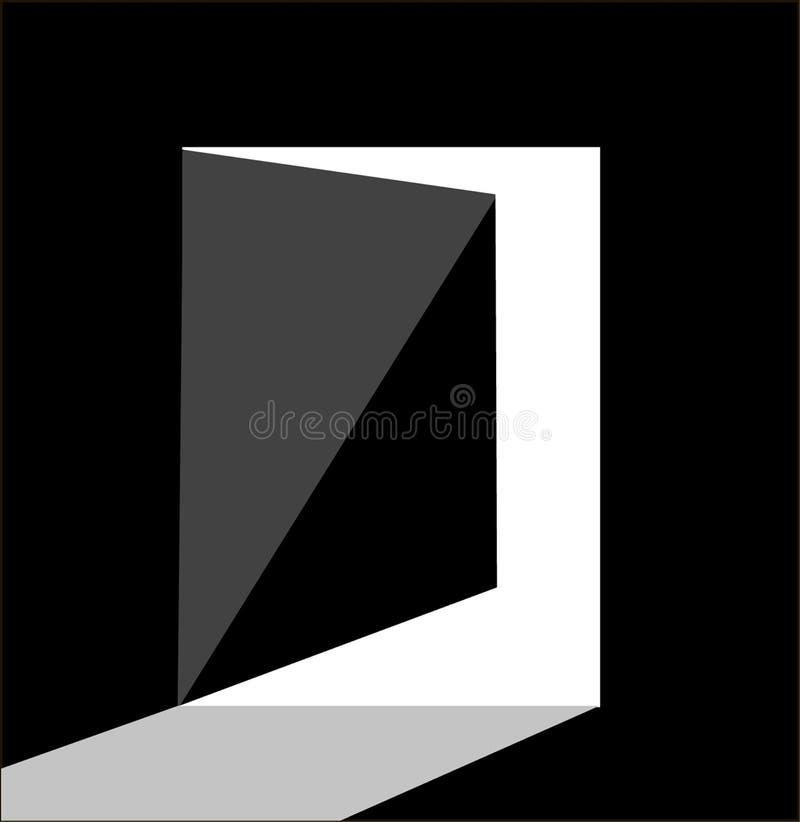 Del logotipo de la puerta diseño material plano abierto hacia fuera en fondo negro libre illustration