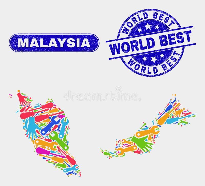 Del- Malaysia översikt och bästa stämplar för Grungevärld stock illustrationer