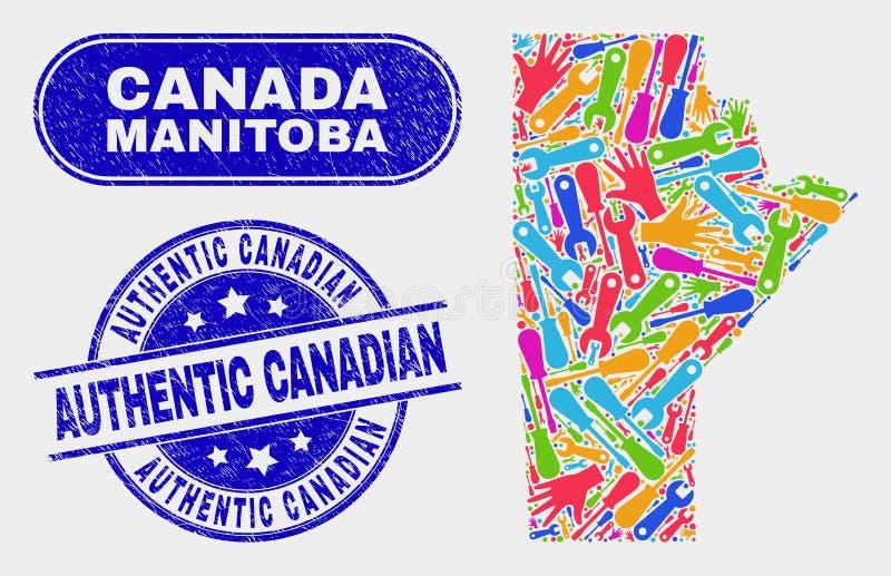 Del- Manitoba landskapöversikt och att bedröva autentiska kanadensiska stämplar royaltyfri illustrationer