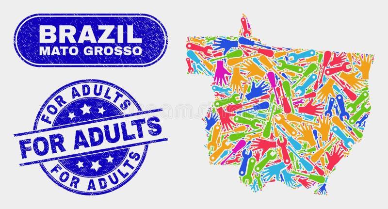 Del- Mato Grosso State Map och skrapade för vuxna människor stämplar skyddsremsor stock illustrationer
