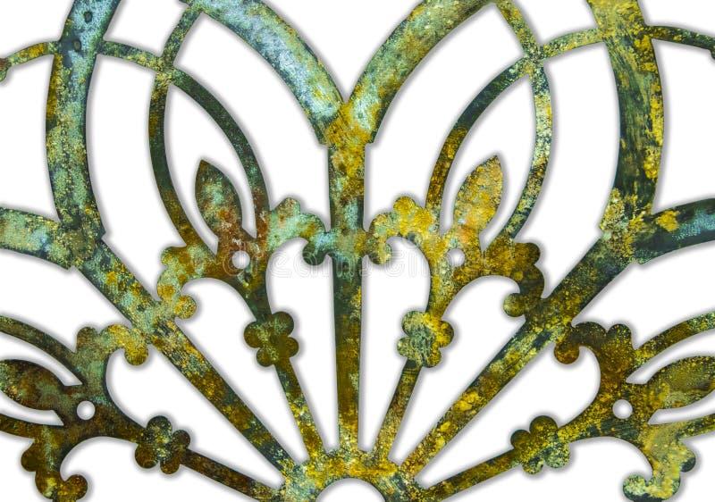 Del metallo verde di lerciume arrugginito del ferro progettazione lacey e giallo isolata su bianco con il fondo dell'ombra fotografie stock libere da diritti