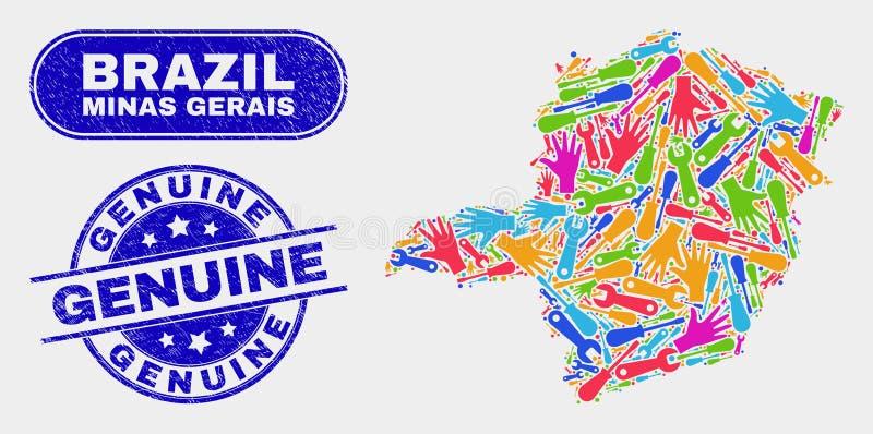 Del- Minas Gerais State Map och äkta vattenstämplar för Grunge royaltyfri illustrationer