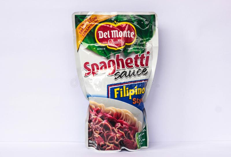 Del Monte Spaghetti Sauce. Camarines Sur, PHILIPPINES - FEB. 7, 2017. A close-up photo of Del Monte Spaghetti Sauce, Filipino Style by Del Monte Food, Inc from royalty free stock photography