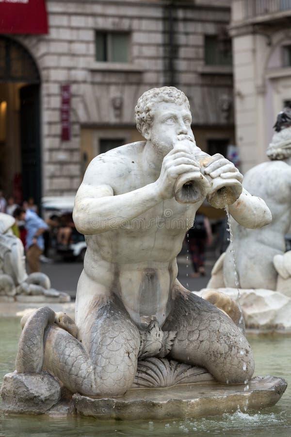 Del Moro Moor Fountain de Fontana en la plaza Navona roma imagen de archivo