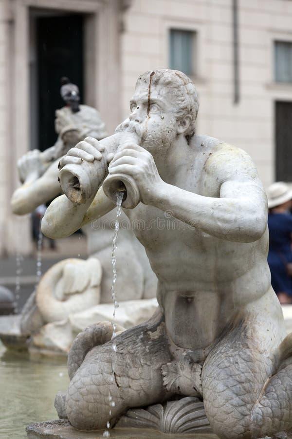 Del Moro Moor Fountain de Fontana en la plaza Navona roma foto de archivo libre de regalías
