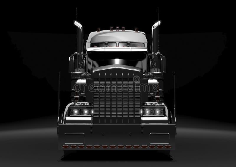 Del negro carro semi en la obscuridad ilustración del vector