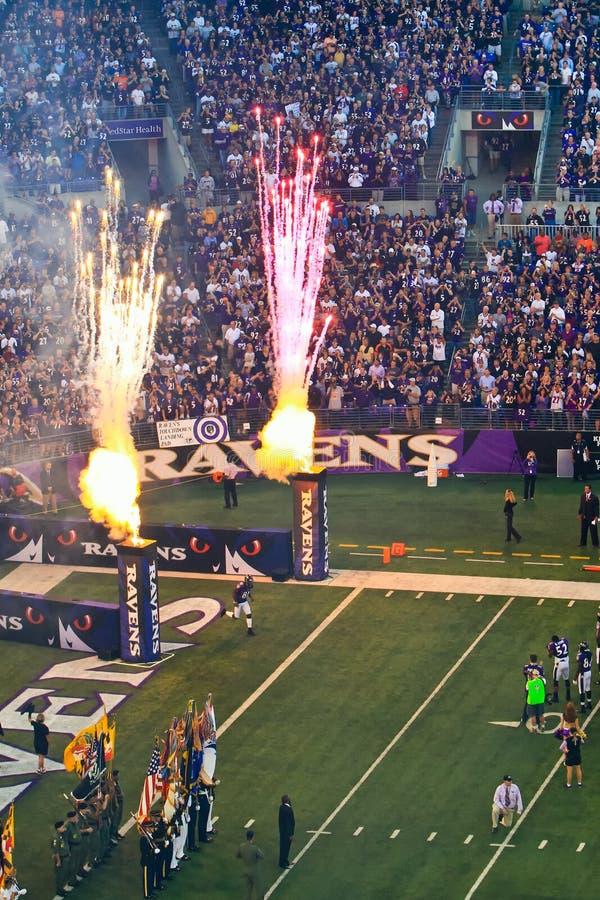 Del NFL di gioco del calcio fuochi d'artificio del gioco pre! immagini stock libere da diritti