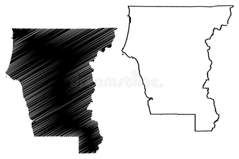 Del Norte County, de kaartvector van Californi? vector illustratie