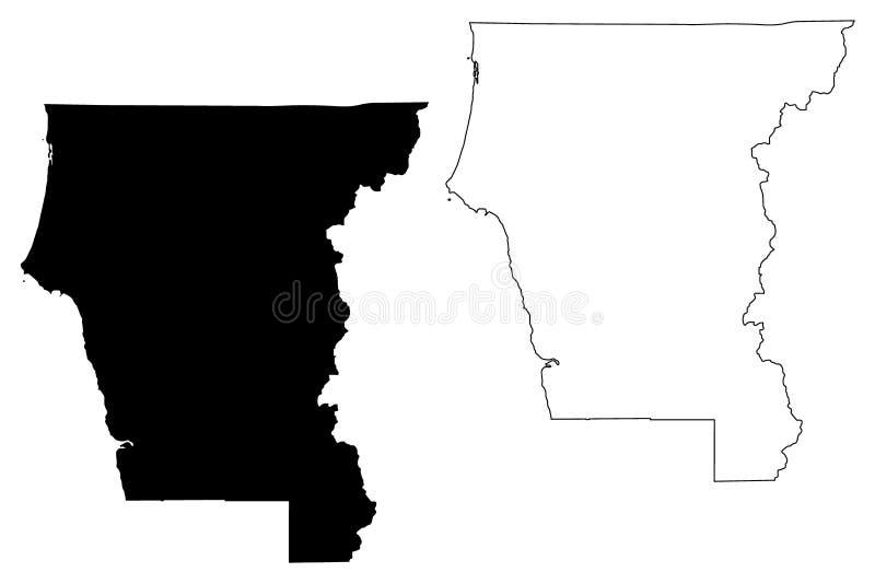 Del Norte County, vetor do mapa de Califórnia ilustração do vetor