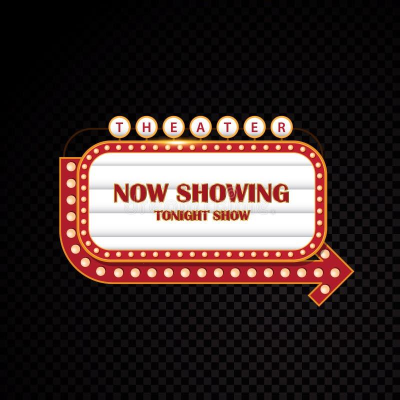 Del oro que brilla intensamente muestra de neón del motel del cine retro del teatro brillantemente stock de ilustración