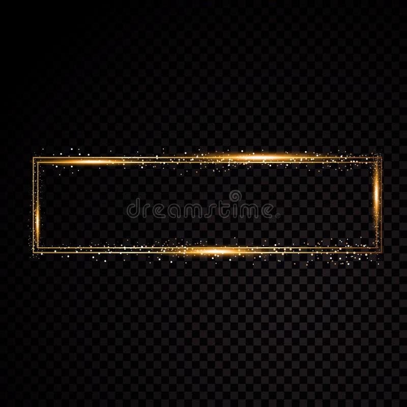 Del oro que brilla intensamente señal de neón retra del cine del teatro brillantemente stock de ilustración
