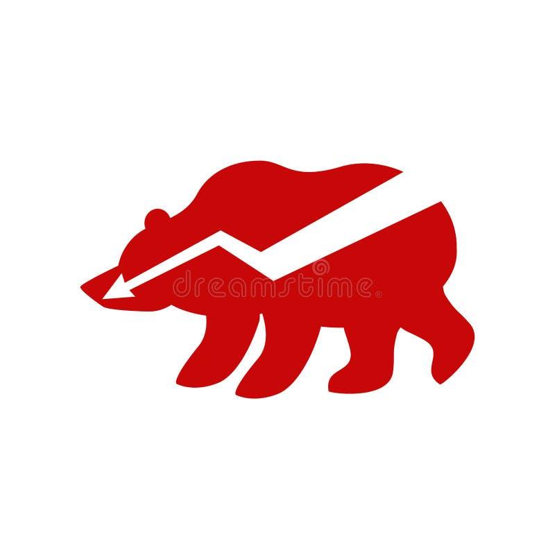Del oso flecha roja abajo Ejemplo del comerciante del intercambio Negocio concentrado libre illustration
