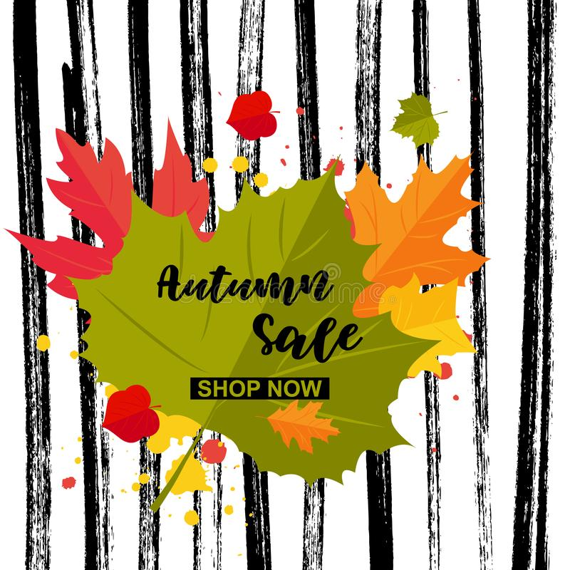 Del otoño de la oferta de la tienda palabras ahora stock de ilustración