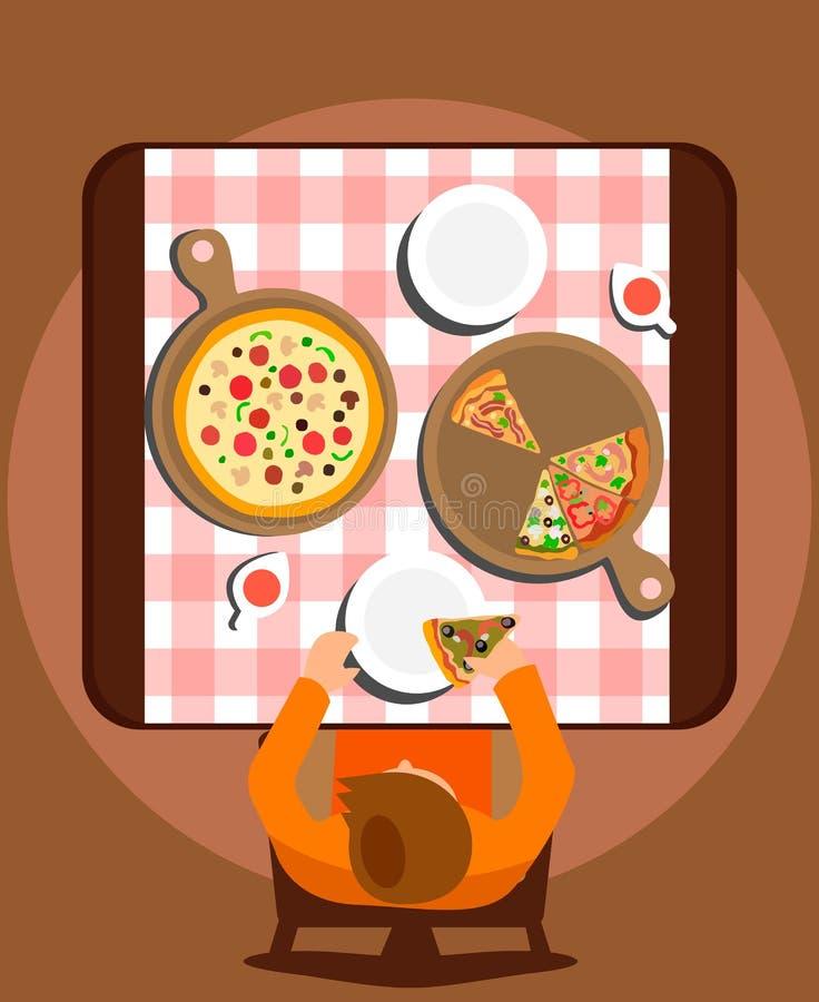 Del pasto illustrazione piana mangiatrice di uomini di vettore da solo royalty illustrazione gratis