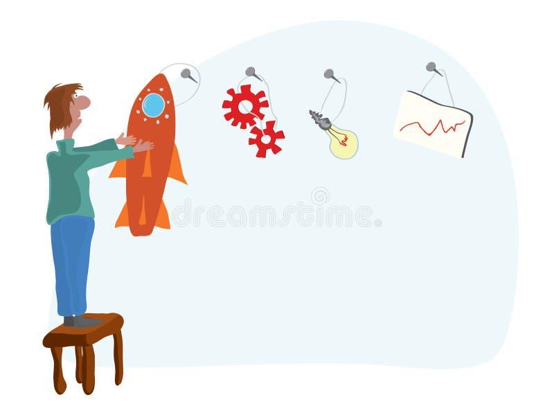 Del plan y de las ideas de empezar para arriba libre illustration