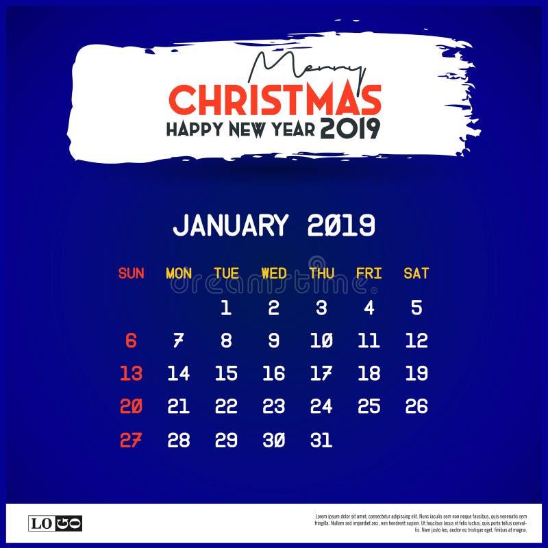 Del 2019 plantilla del calendario de enero Fondo del azul de la Feliz Navidad y de la Feliz A?o Nuevo stock de ilustración