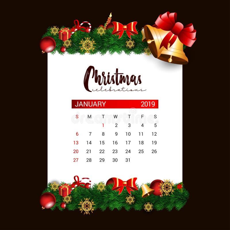 Del 2019 plantilla del dise?o del calendario de enero de la decoraci?n de la Navidad o del A?o Nuevo stock de ilustración