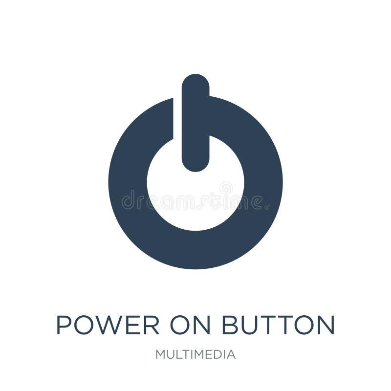 del poder icono del botón encendido en estilo de moda del diseño del poder icono del botón encendido aislado en el fondo blanco d stock de ilustración